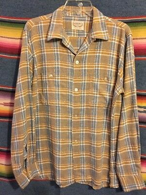 Vintage 50's Arrow Rayon Gabardine Plaid Loop Collar Rockabilly Shirt Medium-LRG