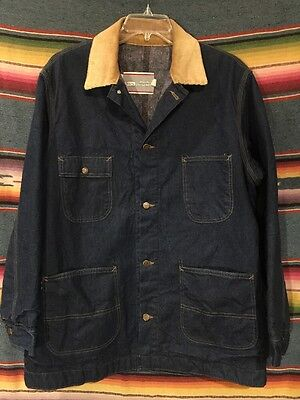 Vintage Sears Denim Blanket Lined Chore Jacket Size XL
