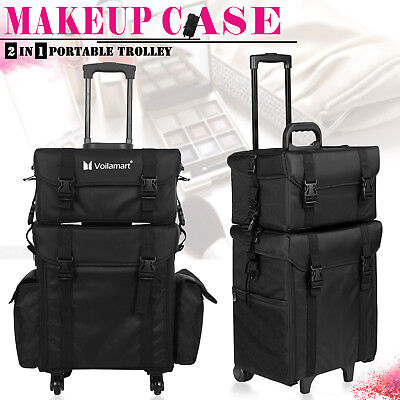 2 IN 1 Professional Beauty Cosmetic Case Rolling Makeup Box Organiser Trolley