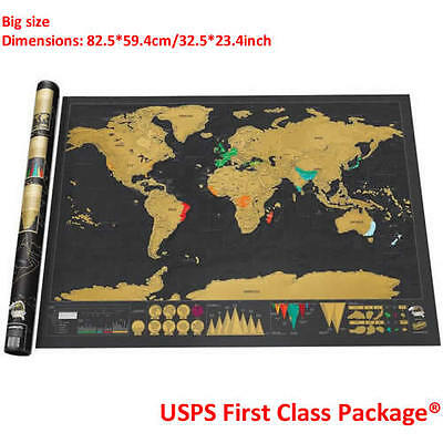 Hot Deluxe Travel Edition Scrape Off World Map Poster Personalized Journal Log