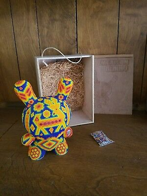 "Mexican beaded  dunny 8"" unique in wooden box !!! 1 of only 20 made.VERY RARE!!!"