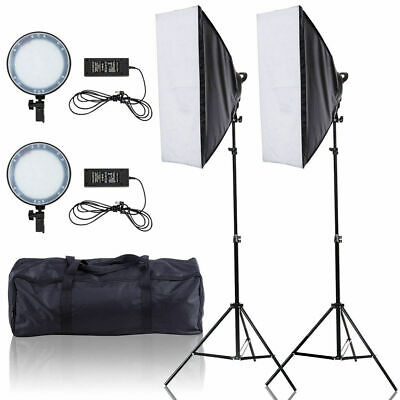 Lighting Studio Adjustable Bright LED Softbox Continuous w/ 2 Stand Carrying Bag