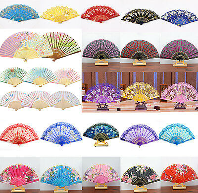 Lady Spanish Style Flower Silk Lace Folding Hand Held Fan Wedding Dance Party HI