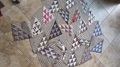 Lot of (28) Antique FLYING GEESE & SOLID BROWN Patchwork Quilt Blocks, Crafts
