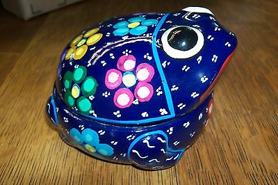 Vintage Hand Painted Pottery Frog Trinket Jewelry Box Floral Mexican Folk Art