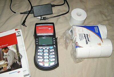 Hypercom Optimum T4210 Credit Card Terminal with manual and extras