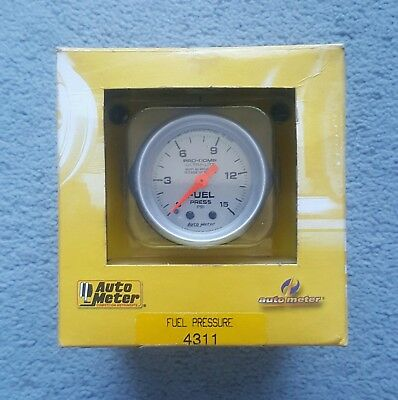 "NEW Autometer Pro-Comp Ultra-Lite 15psi Fuel Pressure Mechanical Gauge (2 1/16"")"