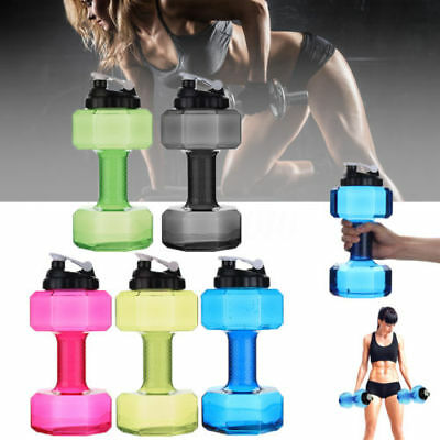 Hot Travel Dumbbell Shaped Cup Sport Fitness Water Drink Gym Exercise Bottle