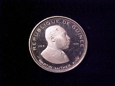 Guinea 100 Francs Silver Proof 1969 Martin Luther King Jr (Carb Spot)