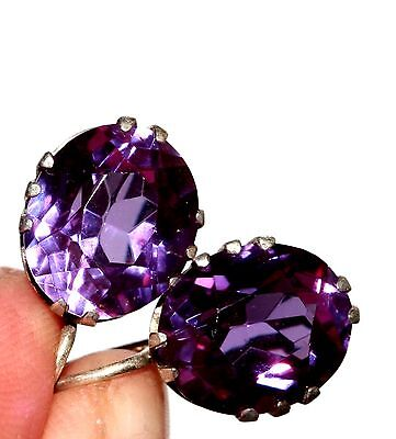 Natural AMETHYST Vintage Earrings Silver RARE 875 USSR Antique