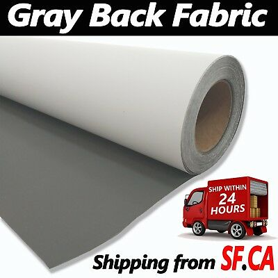 """Curl Free Gray Back Fabric Banner,great for Retractable Banner Stand 35"""" x 82ft"""