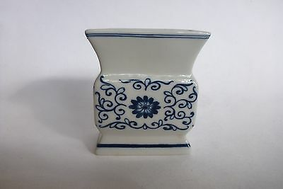 Asian Oriental White Blue Ceramic Porcelain Vase Decor Display Rectangular