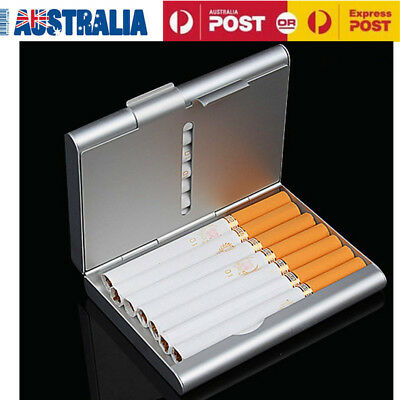 Pocket Tobacco Cigarette Cigar Case Cigarette Storage Box Silver 9.2X8.2X1.85cm