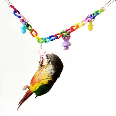 Colorful Hanging Swing Chain Bird Cage Acrylic Chew Toy Pet Parrot Budgie Toy
