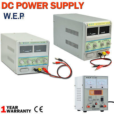 DC Power Supply Adjustable Variable Digital Displays Lab Grade With Cable
