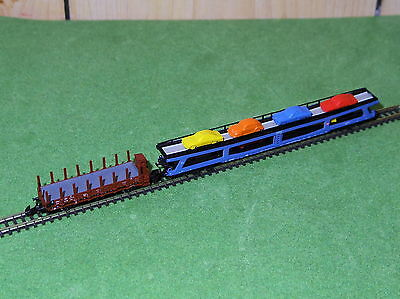 Marklin Z Gauge 8658 Stake Car & 8715 Auto Transporter With Cars - Excellent!