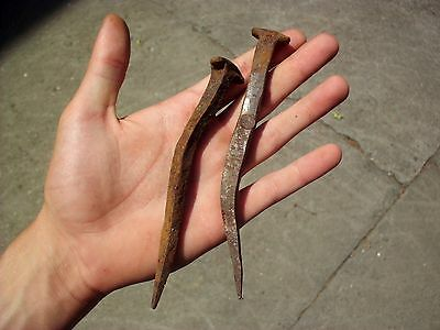 Pair Of Large Ancient Roman Iron Crucifixion Nails - Christian Passion
