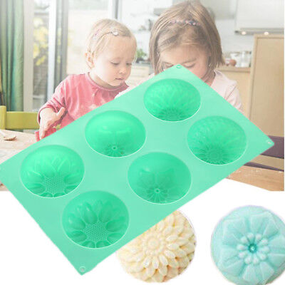 6Cavity Flower Shaped Silicone Handmade Soap Candle Cake Mold Mould Random Color