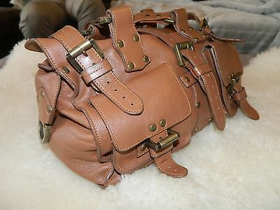 Genuine leather bag, tan brown leather