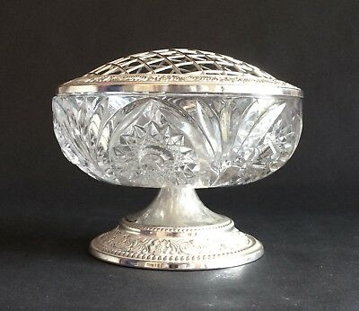 Vintage Silver-Plated & Glass Rose Bowl, Mayell, Made In England