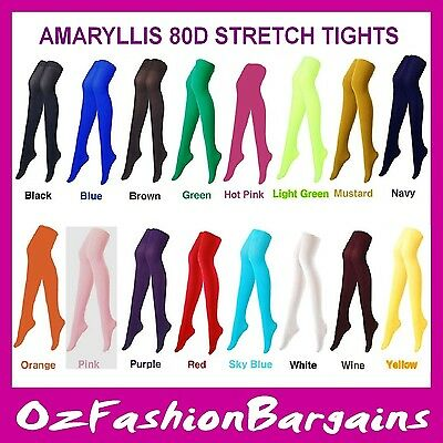 WOMEN'S AMARYLLIS 80D STRETCH TIGHTS in 16 bright colours. Excellent quality.