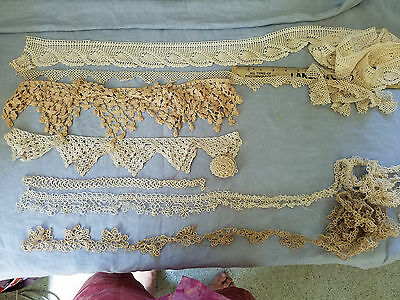 seven Vintage tatted tatting lace crocheted trims edges decorations very nice!