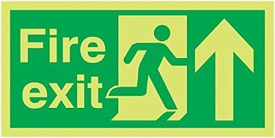 "Signs and Labels AMZFX04710L ""Fire Exit Running Man Arrow Up"" Safe Condition Glo"