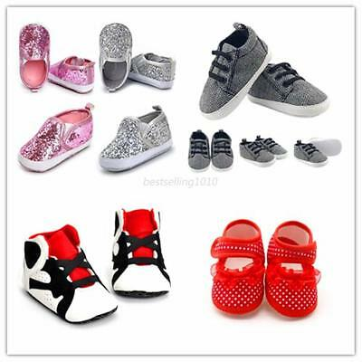 AU Newborn Baby Kids Boys Girls Crib Shoes Sneaker Prewalker Anti-slip Shoes