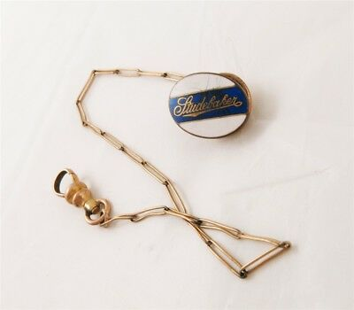 Studebaker Gold Filled Blue White Enamel Oval Tie Tack /Watch Fob