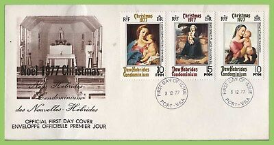 New Hebrides (English) 1977 Christmas set on First Day Cover