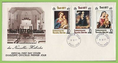 French New Hebrides 1977 Christmas set on First Day Cover