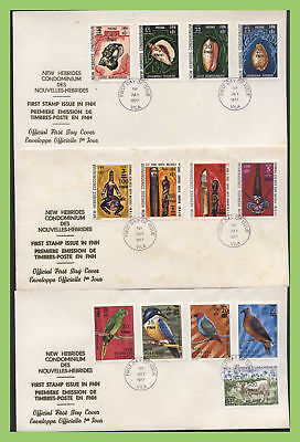 New Hebrides (English) 1977 ovpt. definitive set on three First Day Covers