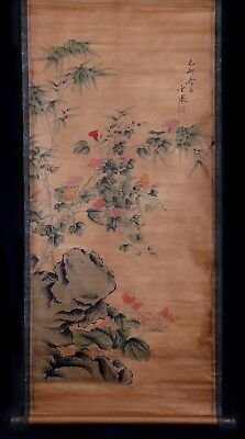 Exquisite Long Chinese Old Handwork Flowers Scroll Painting Marks KK607