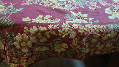 Vintage April Cornell Tablecloth Wine with Gold Flowers