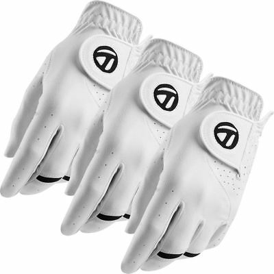 TaylorMade 2017 All-Weather Leather Palm Mens Golf Gloves Pack of 3 - LEFT HAND