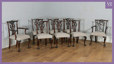 Antique English Set of 8 Georgian Chippendale Style Mahogany Dining Chairs