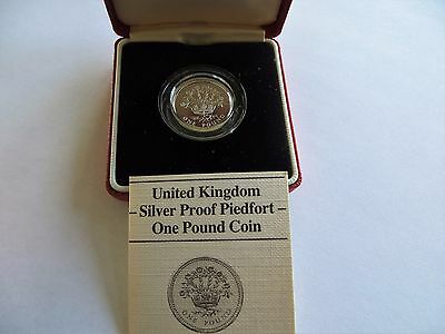 1986 UK Proof Silver Piedfort 1 Pound Coin W/ Box and COA KM# P6
