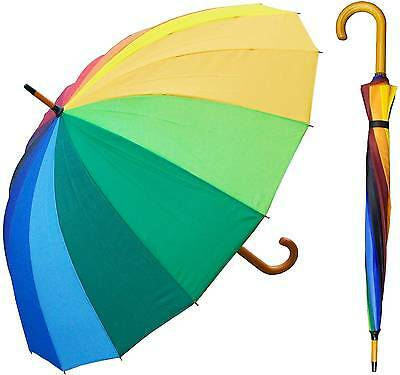 "Lot of 12 - 48"" 16-Panel Rainbow Umbrella - RainStoppers Rain/Sun UV"