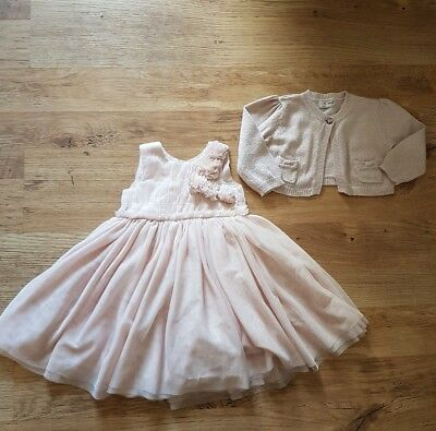 NEXT baby girls beautiful party occasion dress and matching cardigan age 12- 18