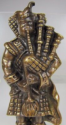 Vintage Figural Brass Bronze Scottish Bagpipe Player Door Knocker Arch Hardware