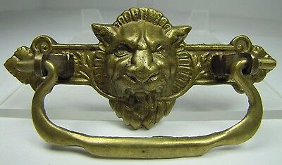 Antique Victorian Lions Head Brass Drawer Pull Architectural Hardware Element