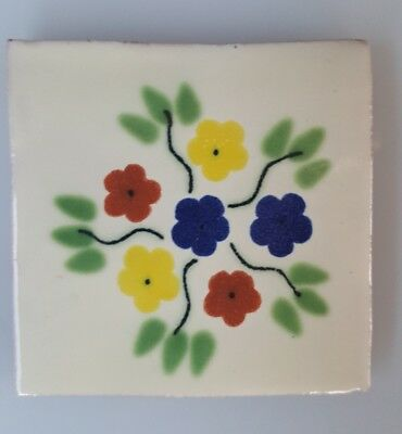 HAND PAINTED MEXICAN IMPORTED TALAVERA GLAZED TILES 10.5cm x 10.5cm , FLORAL