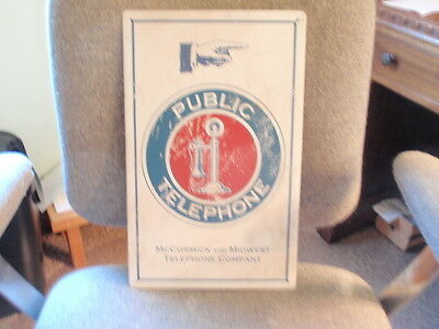 """Public Telephone McCormick and Midwest Telephone Co. Steel Sign 10"""" x 16"""""""