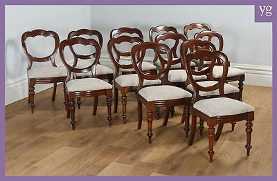 Antique English Set of 12 Victorian Mahogany Crown Balloon Back Dining Chairs