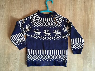 John Lewis Baby Boys Kids Reindeer Jumper Christmas Ages 6,9,12,18, 2, 3