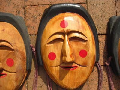 """3 Vintage Hand Carved & Decorated Wooden NOH Theatre Masks Japan Each 9.5"""" Tall"""