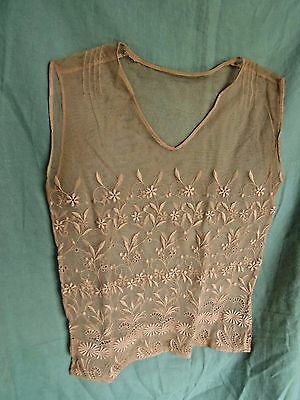 Antique French Net Embroidered Lace Top