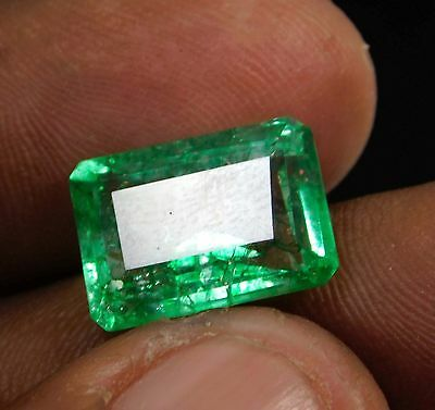6.35ct. Natural Emerald Cut Translucent Colombian Emerald Gemstone