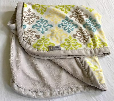 BLANKETS & AND BEYOND Baby Blanket Blue LIME GREEN GRAY WHITE Plush Damask