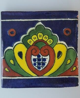 HAND PAINTED MEXICAN IMPORTED TALAVERA GLAZED TILES 10.5cm x 10.5cm LILLY'S